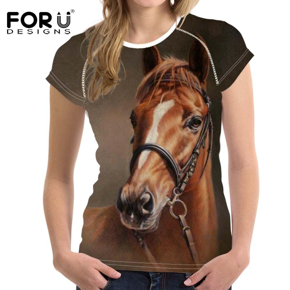 Forudesigns/женские футболки 3D Crazy Horse летние шорты с длинными рукавами Повседневная рубашка для Для женщин тонкий Бодибилдинг женственная одежд...