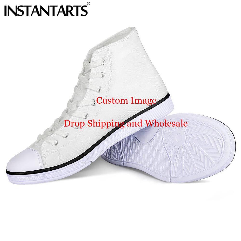 INSTANTARTS personnalisé hommes toile chaussures confort haut haut chaussures décontractées homme à lacets vulcaniser chaussures personnaliser Image votre Image