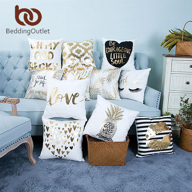 BeddingOutlet Bronzing Christmas Cushion Cover Gold Printed Pillow Cover Decorative Pillow Case Sofa Seat Car Pillowcase Soft