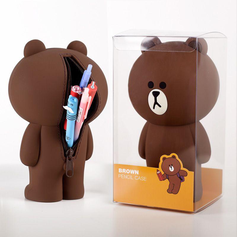 3D Cartoon Cute Pencil Case Bag Silica Gel Kawaii Korean Brown Bear Bunny Cony Pencilcase Gift For Girl Boy Kids School Supplies