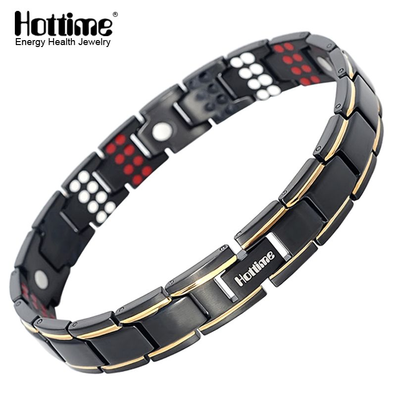 Hottime 109 PCS Bio Elements Energy Stone 3500 Gauss Magnetic Therapy Germanium Bracelet 4 IN 1 Men's Fashion Health Jewelry