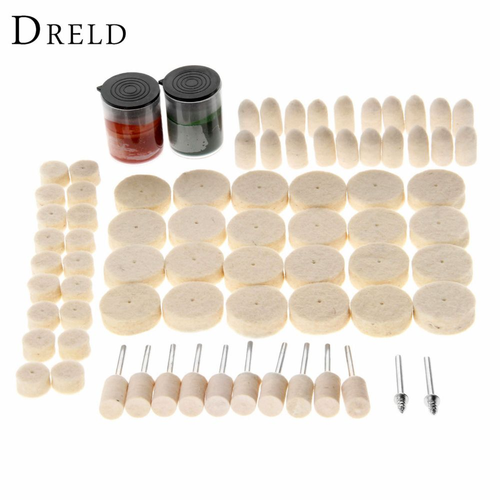 76Pcs Dremel Accessories Abrasive Soft Felt Buffing Burr Polishing Pad Polishing Wheels Brushes Kits for Drill Rotary Tool