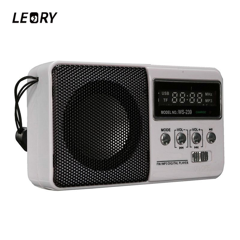 LEORY LCD Mini Portable DC 5V FM Radio Speaker With TF Card Slot Sports Rechargeable MP3 Music Player Loudspeaker