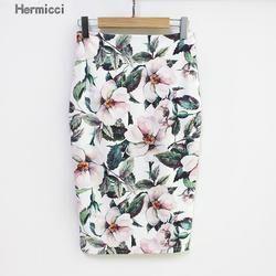 Hermicci 2017 D'été Style Crayon Jupe Femmes Taille Haute Vert Jupes Vintage Élégant Moulante Imprimé floral Midi Jupe