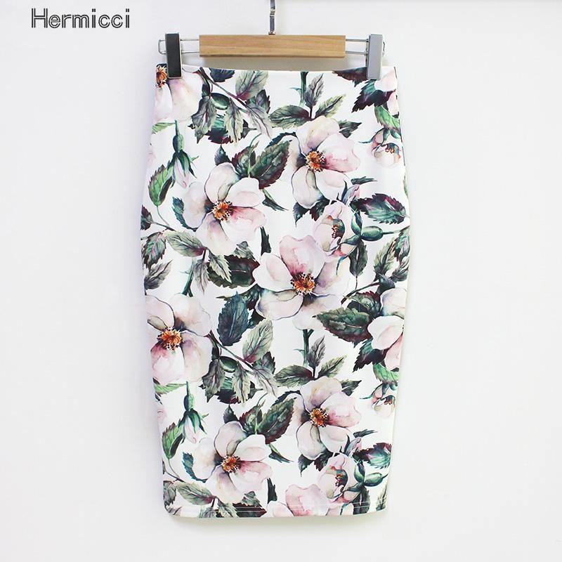 Hermicci 2018 Summer Style Pencil Skirt Women High Waist Green Skirts Vintage Elegant Bodycon Floral Print Midi Skirt
