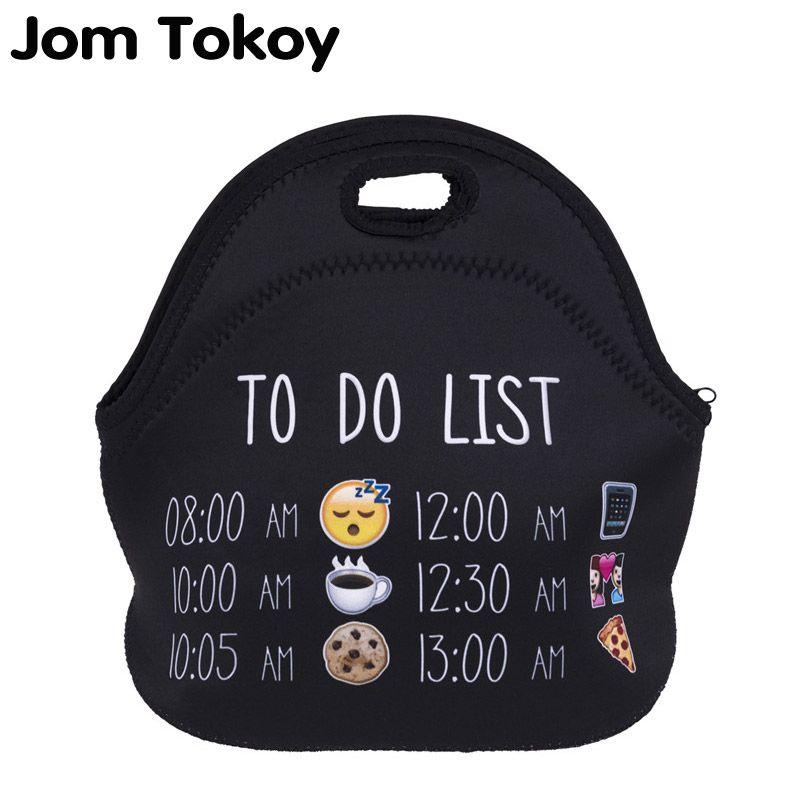 Jom Tokoy liste emoji Thermique Isolé 3d imprimer Sacs À Lunch pour femmes Enfants Sac Thermique Boîte À Lunch Alimentaire Pique-Nique Sacs Fourre-Tout Sacs À Main