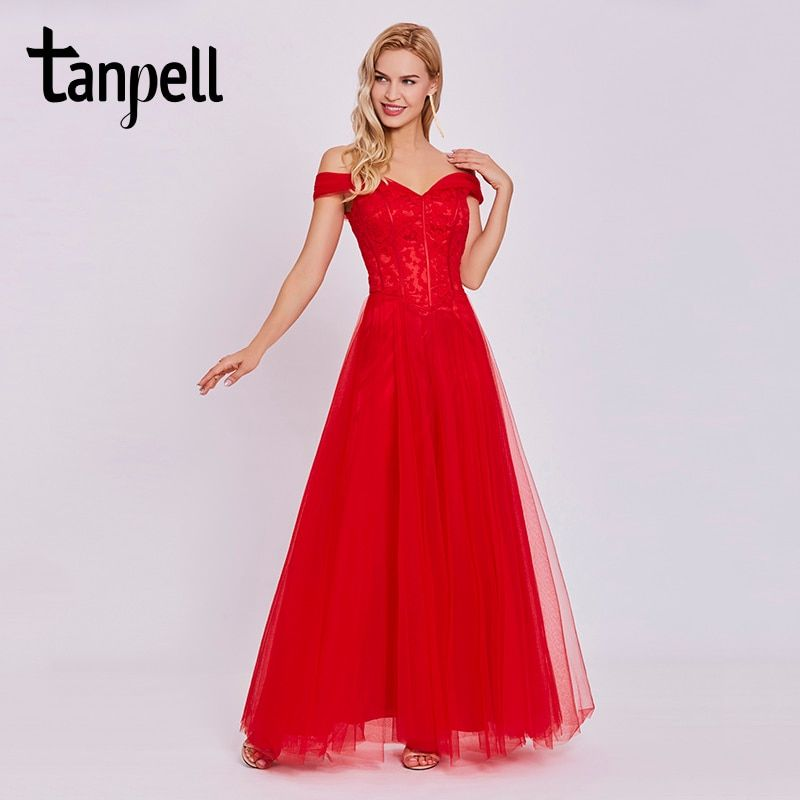 Tanpell off the shoulder evening dresses cheap red floor length a line gown elegant women lace prom formal long evening dress