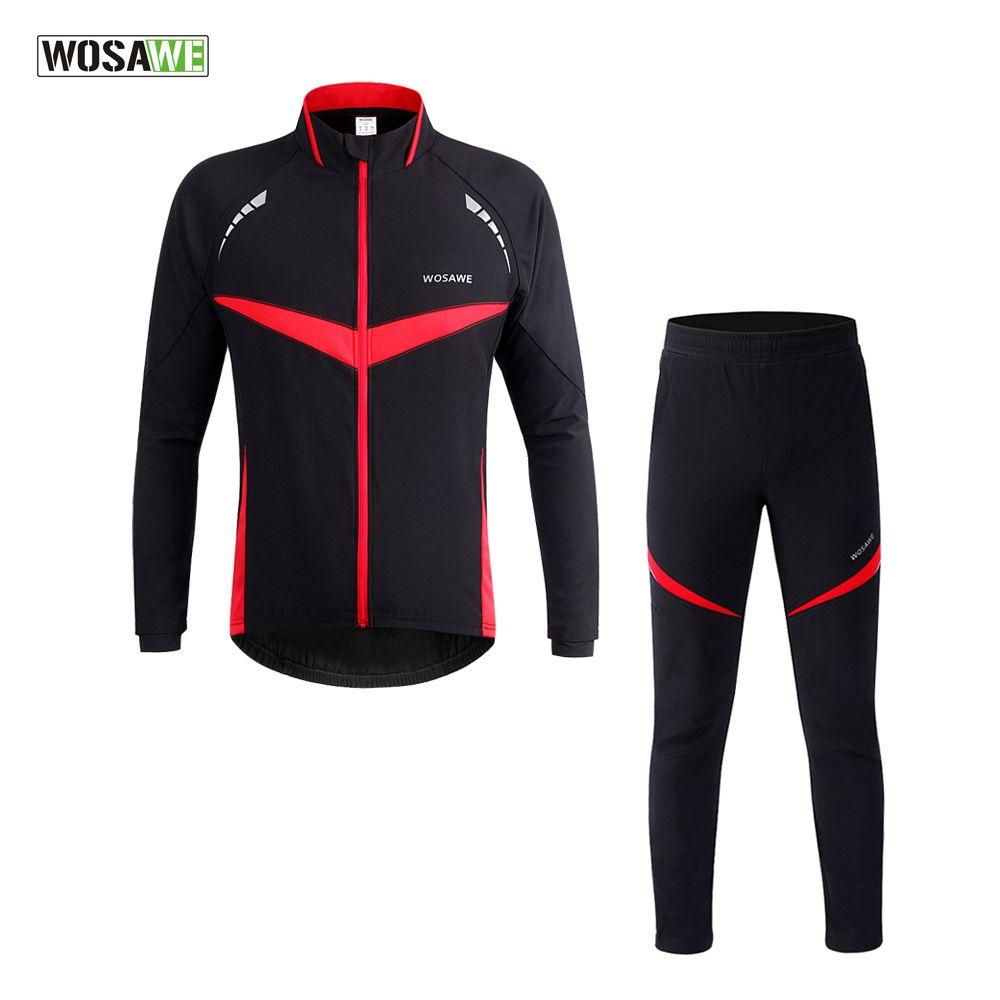 WOSAWE Men Thermal Winter Cycling Jacket Pants Suit Windproof Waterproof Bike Bicycle Wind Coat Clothing Long Sleeve Cycling Set
