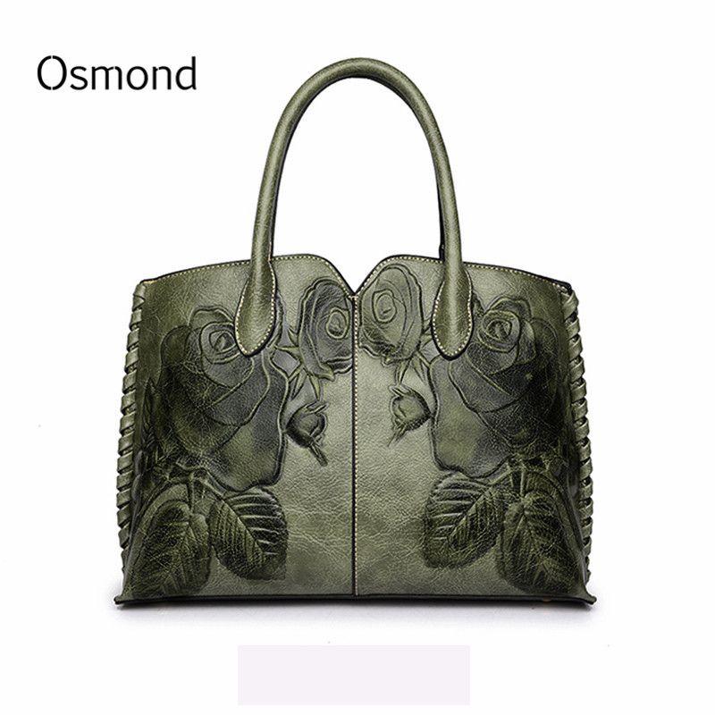 Osmond Bolsa Feminina 2018 sac en cuir véritable pour femme sac à main de luxe vert sac à main femme en relief sac Messenger marque Totes