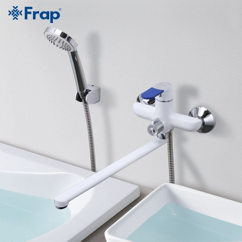 Frap Modern Style Bath Faucet Wall Mounted <font><b>Cold</b></font> and Hot Water Mixer Tap Multi Color Handle Cover Choices 35cm Long Nose F2234