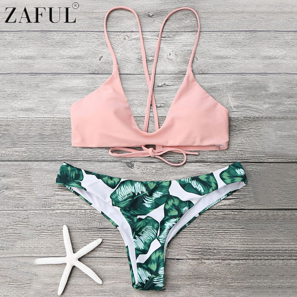 Zaful Cami Bralette Palm Leaf Print Low Waist Bikini Set Push Up Swimwear Women Summer Beach Bikini Brazilian Sexy Biquini