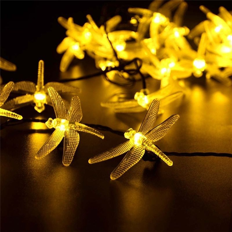 Solar Christmas Lights 19.7ft 30 LED 8 Modes Solar Dragonfly Fairy <font><b>String</b></font> Lights for Xmas Party Decorations Outdoor Solar Lamp