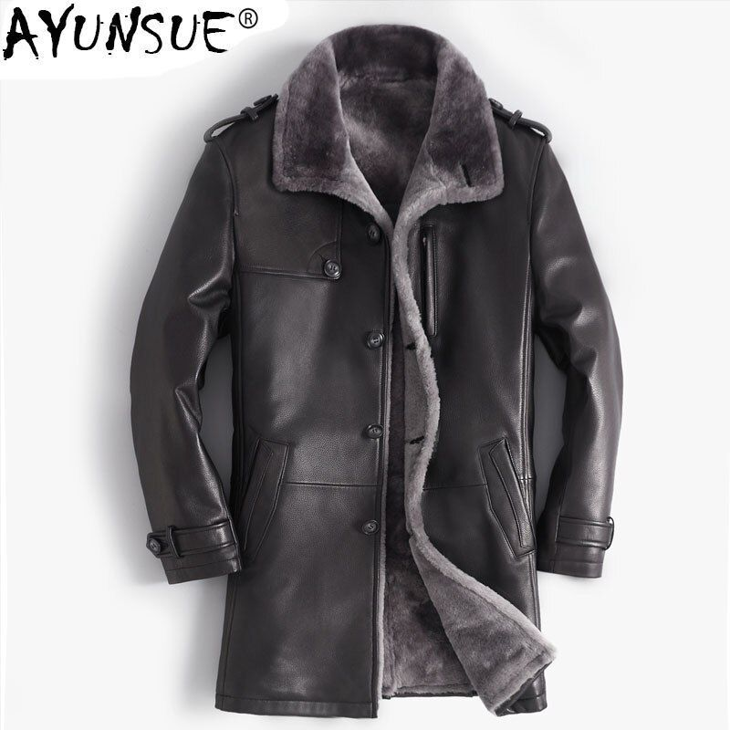 AYUNSUE Genuine Leather Jacket Cow Leather Winter Jacket Men Sheep Shearling Fur Coats Autumn Long Coat Plus Size 5xl MY1209