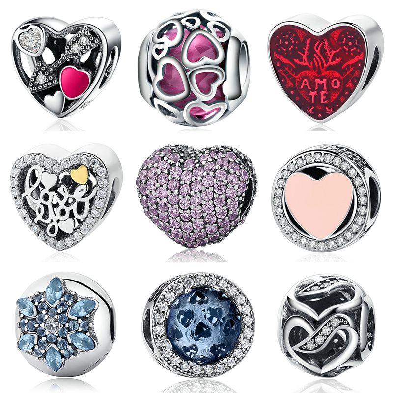 Сердце стерлингового серебра 925 бисера Талисманы розовый кубический цирконий CZ clip Талисманы Fit Пандора браслет ювелирных изделий