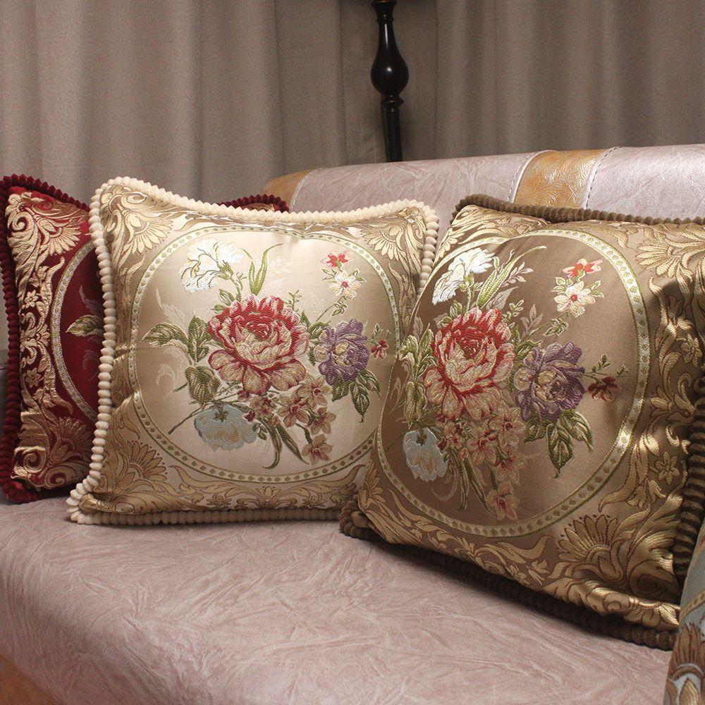 CURCYA Style Européen Jacquard Élégant Floral Décoratif Housses de Coussin pour Canapé/Classique Coussin Couvre Nouvelle Maison Cadeaux