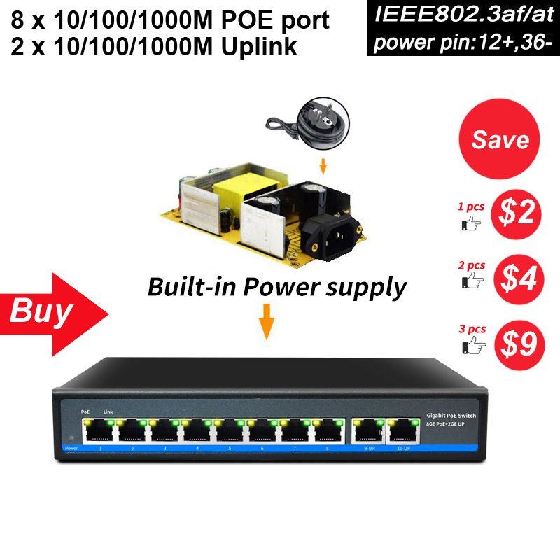 SZSSCEE Gigabit 10 port Poe Schalter unterstützung Ieee802.3af/at Ip kameras und Wireless AP 10/100/100 0 Mbps standard netzwerk schalter