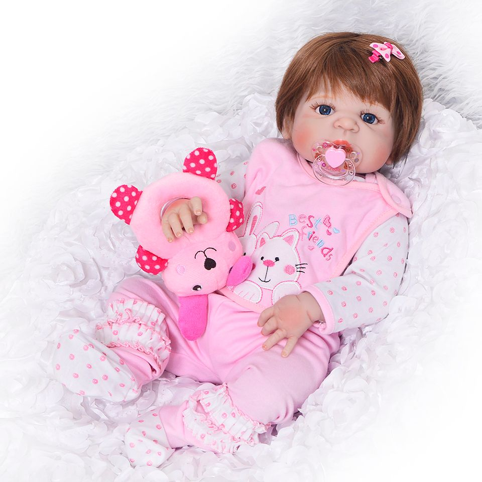 Lovely 23 inch Full Silicone Reborn Baby Dolls Girls For Children's Day Gifts Realistic 57 cm Princess Baby Reborn Brinquedos