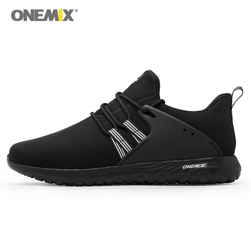 Onemix men's running shoes outdoor sport sneakers in black for lover walking shoes white women jogging sneakers size EU36-45