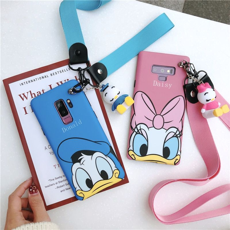 Sam S9 plus Cute daisy Donald case, Cartoon minnie Soft back cover For Samsung Galaxy S10 S8 S8plus Note8 note9 + toy +StrapS
