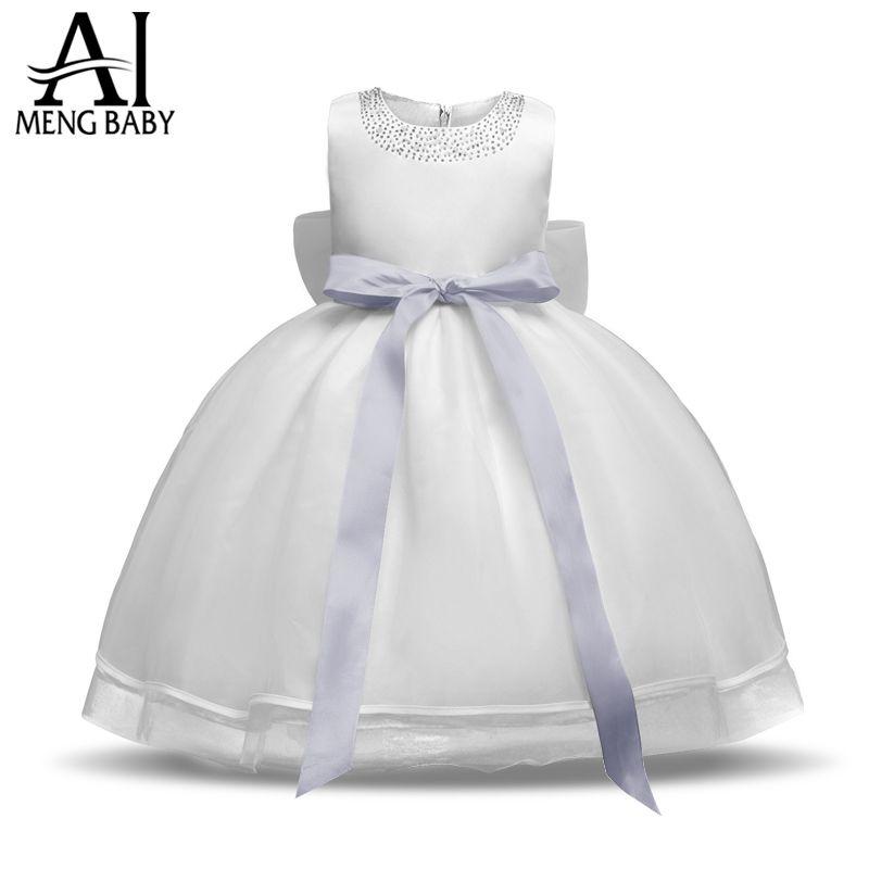 Newborn Dress For <font><b>Baby</b></font> Girl Toddler Christening Gown White Tutu Dresses For Girls 1 Year Birthday Gift Infant Ceremonies Clothes