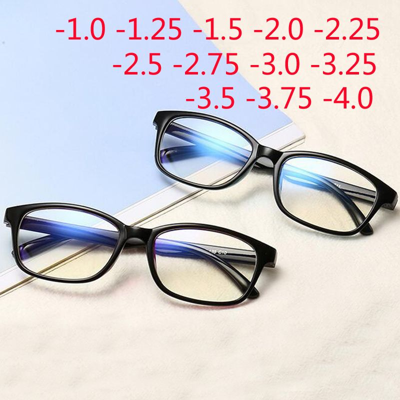 -1.0 -1.25 -1.50 -1.75 -2.0 -2.5 -3.0 To -4.0 Finished Myopia Glasses Women Men Short-sight Eyewear Black Blue Red Frame