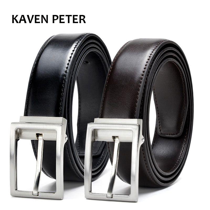 Men Belts Gold Metal Genuine Leather Mens Luxury Strap Male Belt Formal Men's Trousers Belt Cintos Masculinos Ceinture Homme