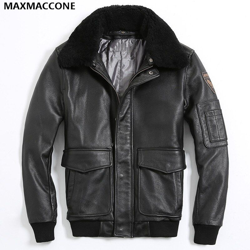 2018 Black Men Pilot Leather Jacket Wool Collar Plus Size 3XL Genuine Cowhide Male Russian Military Aviator Coat FREE SHIPPING