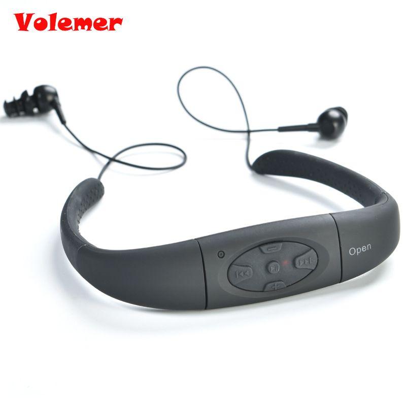 Volemer IPX8 étanche 4 GB sport MP3 tour de cou stéréo lecteur MP3 écouteur lecteur de musique avec Radio FM pour nagmimg en cours d'exécution