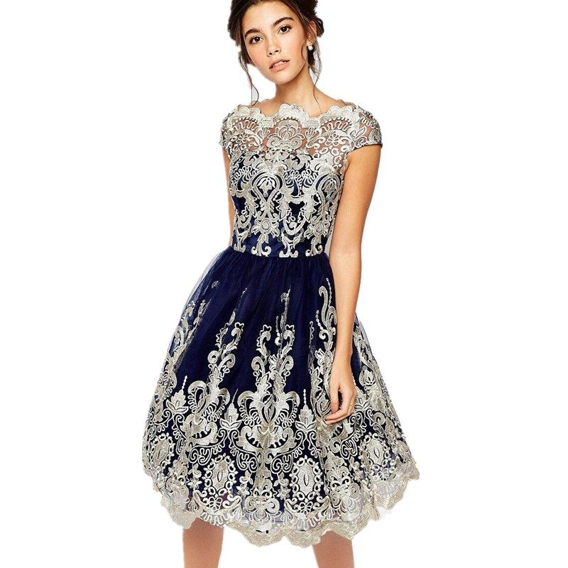 2017 Suit-dress European Summer New Product Gauze Embroidery Restore Ancient Ways Full women Longuette Dress party sexy dresses
