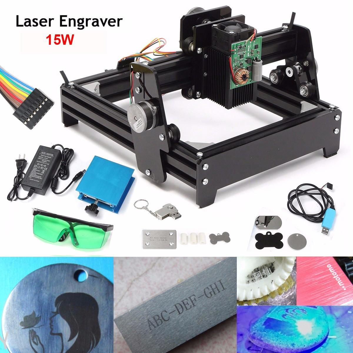 New 15W Laser AS-5 USB Desktop 15000mW CNC Laser Engraver DIY Marking Machine For Metal Stone Wood Engraving Area 14 x 20cm