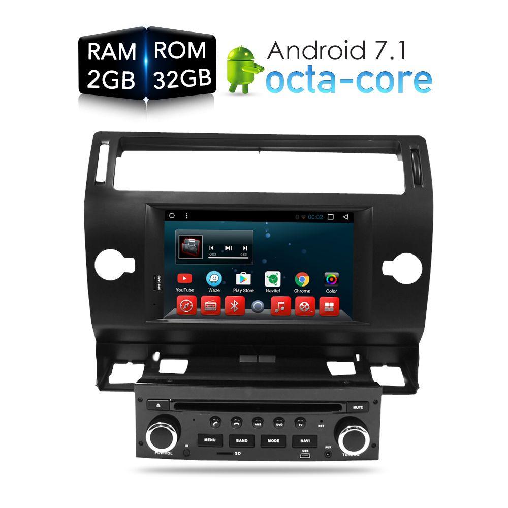 Android 7.1.1 Car DVD Player GPS Glonass Navi for Citroen C4 C-Triomphe C-Quatre 2005 2006 2007 2008 2009 Radio Audio Stereo