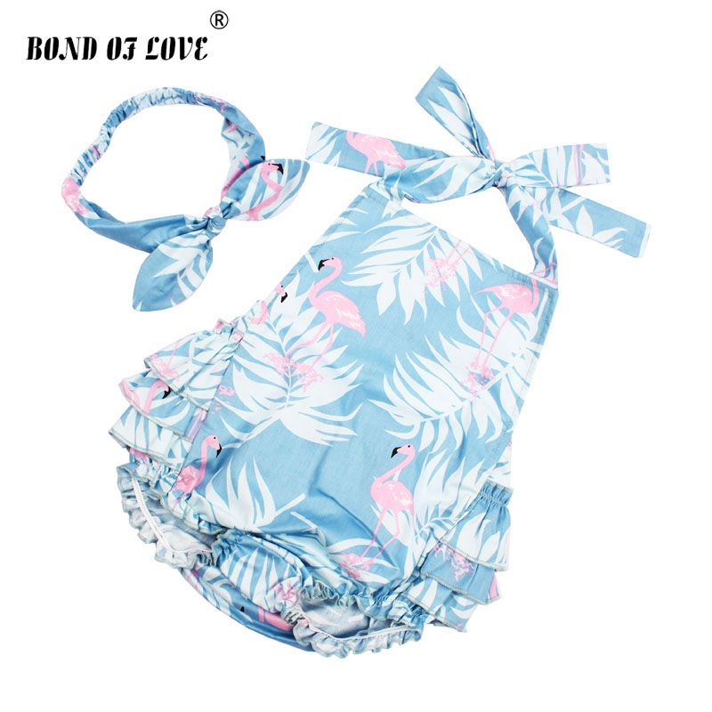 2018 NEW Baby Girl Clothing Lucky Child Cotton Ruffled Flamingo Rompers & Headband Set Newborn Photography Props Christmas Gift