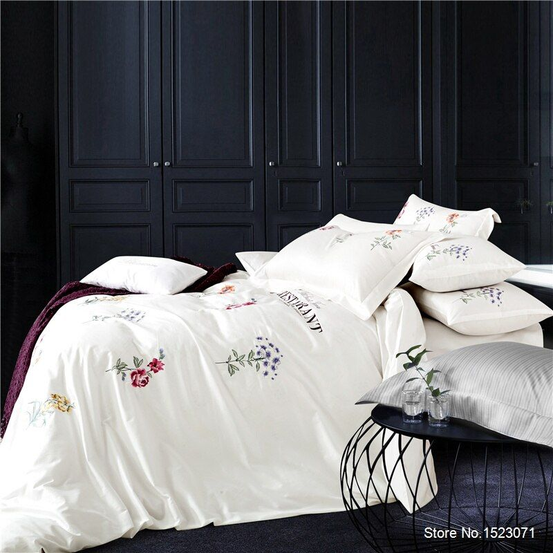 TUTUBIRD-Luxury embroidered white purple 3D bedding sets gray blue red bed linen flower duvet cover sheet sets 100% cotton 4pcs