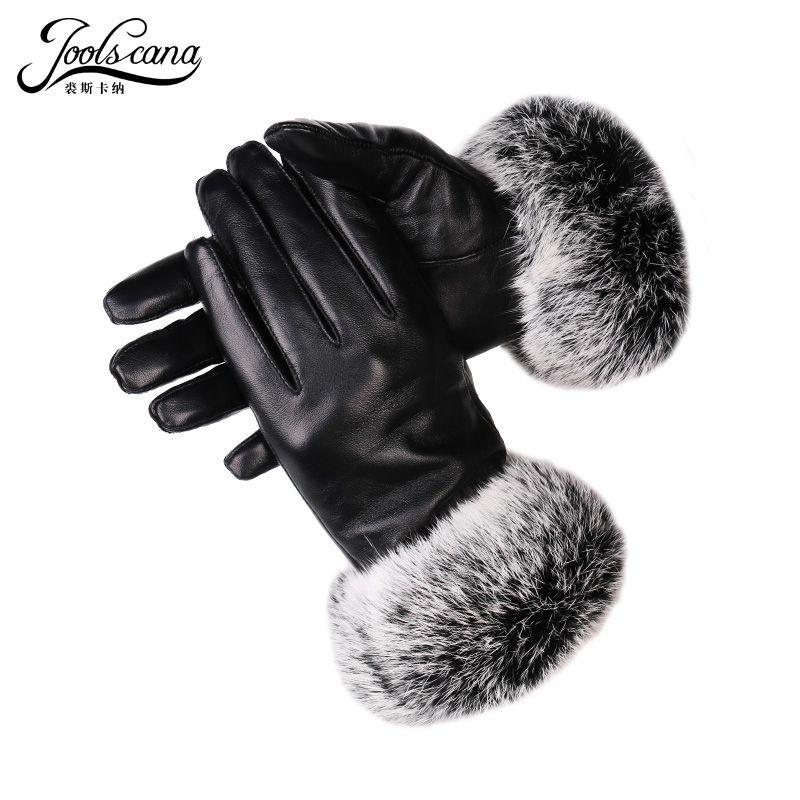 JOOLSCANA winter frauen lederhandschuhe echten kaninchenfell handgelenk touchscreen handschuh Italienischen importiert echtem schaffell handschuh warm