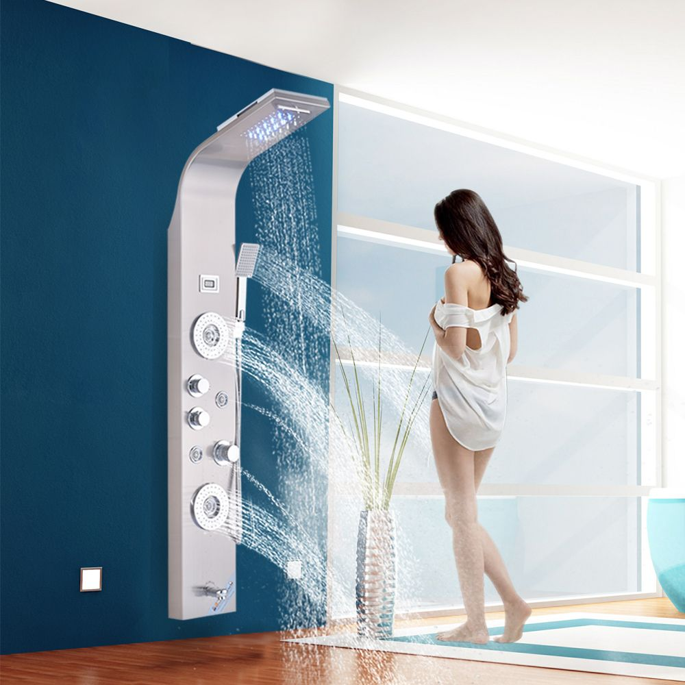 Brushed Nickel Shower Column Faucet Led Light Wall Mount Bathroom Bath Shower System SPA Massage Sprayer Temperature Screen Show
