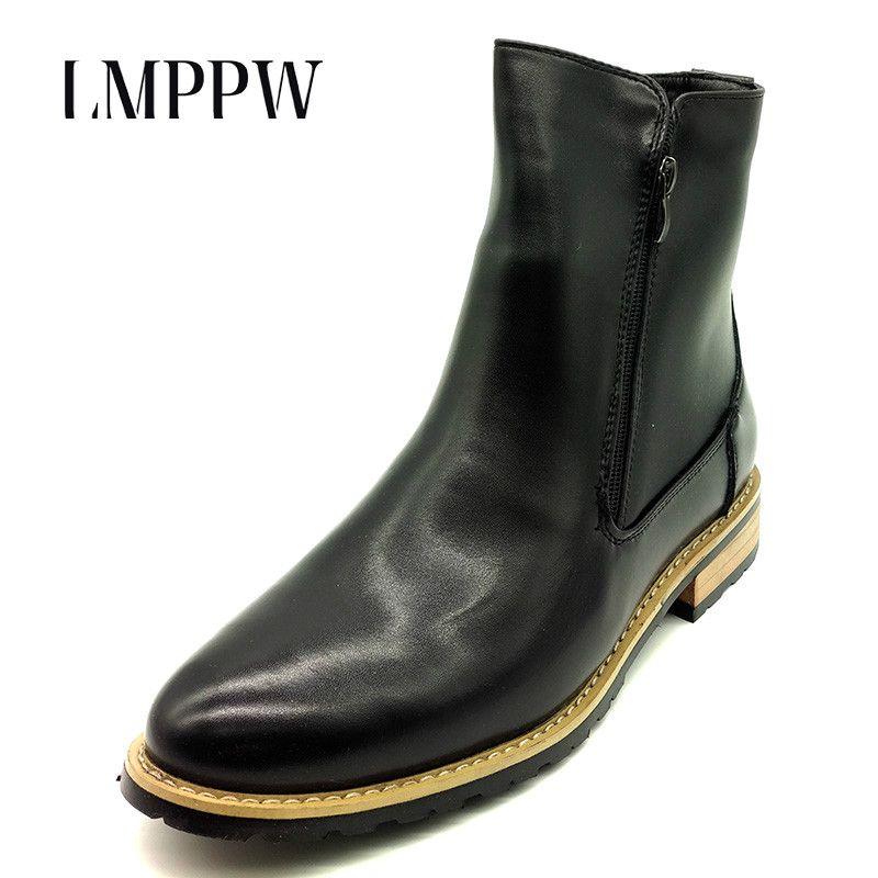 Британский стиль модные дизайнерские Челси ботинки Martin Для мужчин повседневная обувь Пояса из натуральной кожи Острый носок молния Ботиль...