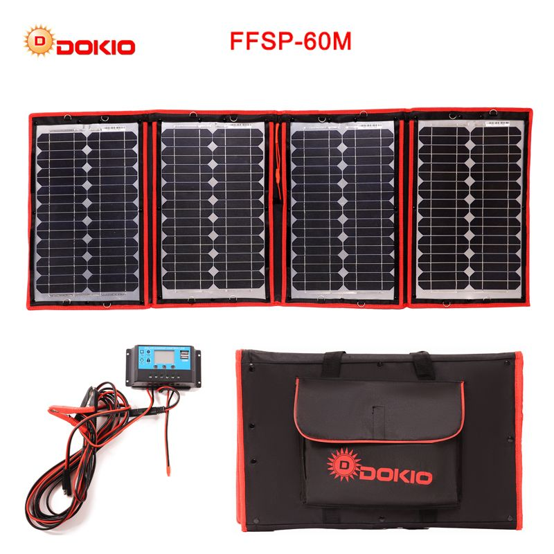 Dokio 60W (15Wx4Pc) 18V Black Solar Panels only China Foldable+12/24V Volt Controller 60Watt Panels Solar panel battery charge