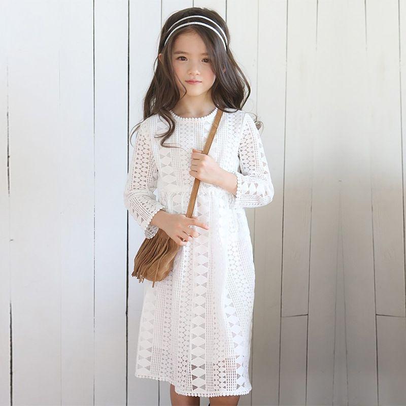 Filles Dentelle Robe À Manches Longues Automne Hiver Petite Fille Robe 4 5 6 7 8 9 10 11 12 ans enfants Princesse Robe Adolescentes Vêtements