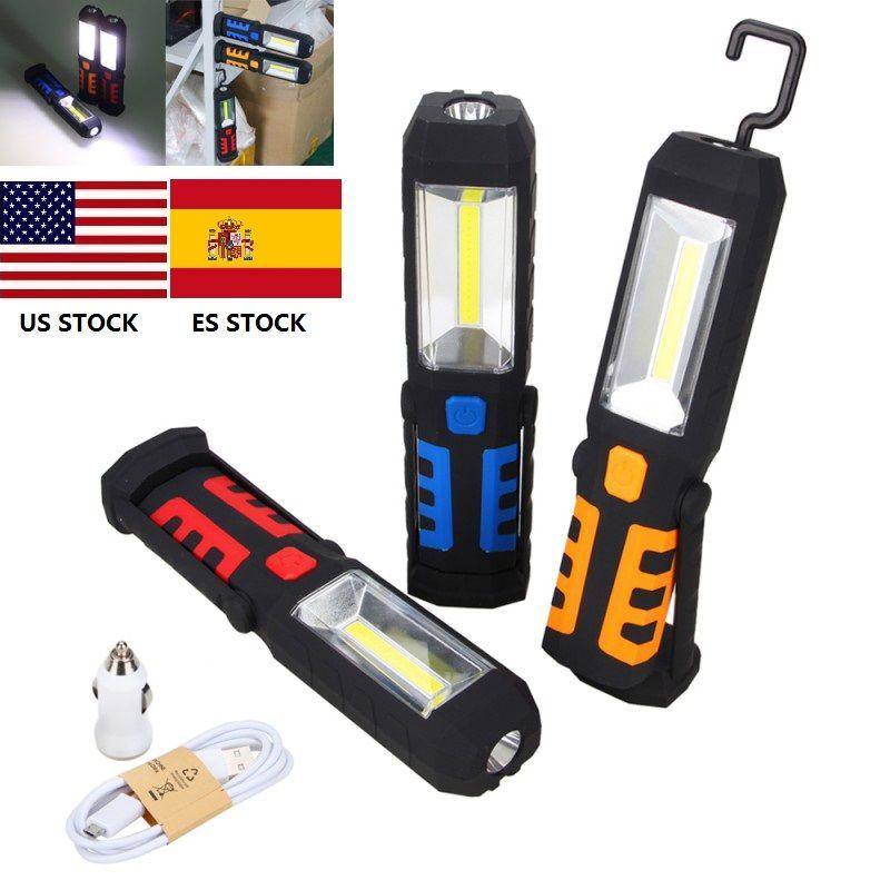 Lampe de Camping lanterne Rechargeable Portable COB LED lampe de travail magnétique 360 degrés support lampe de poche suspendue lampe torche de chasse
