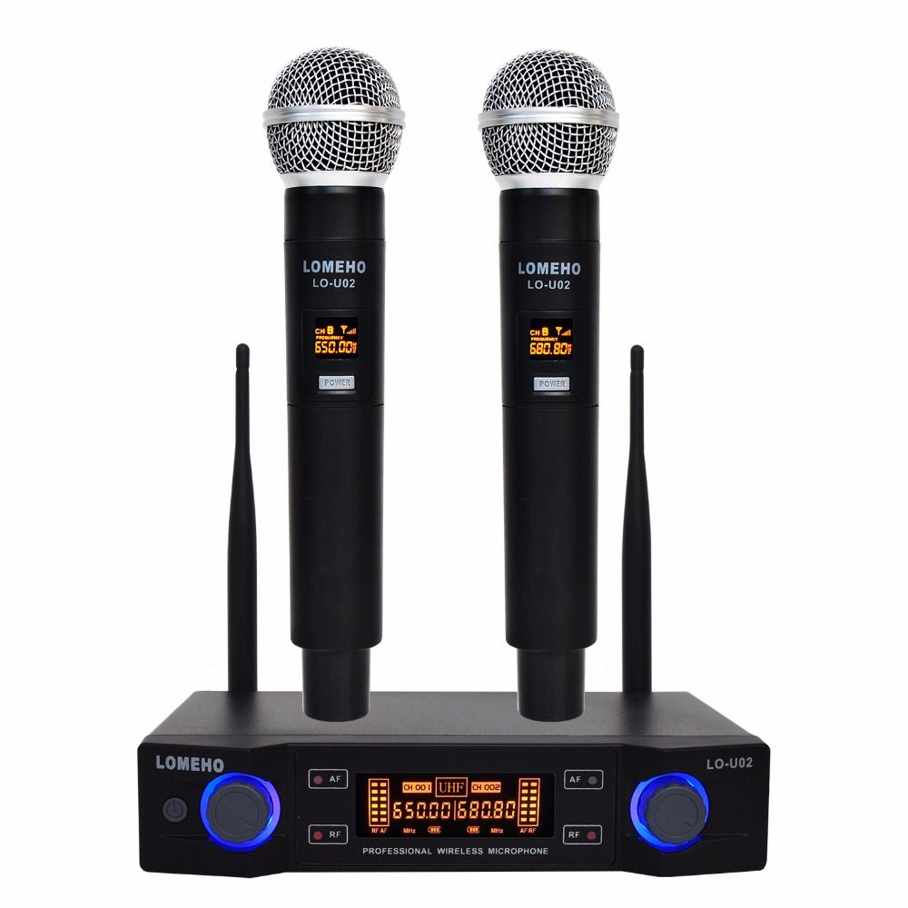 Lomeho LO-U02 2 Handheld UHF Frequencies Dynamic Capsule 2 channels Wireless Microphone for Karaoke System
