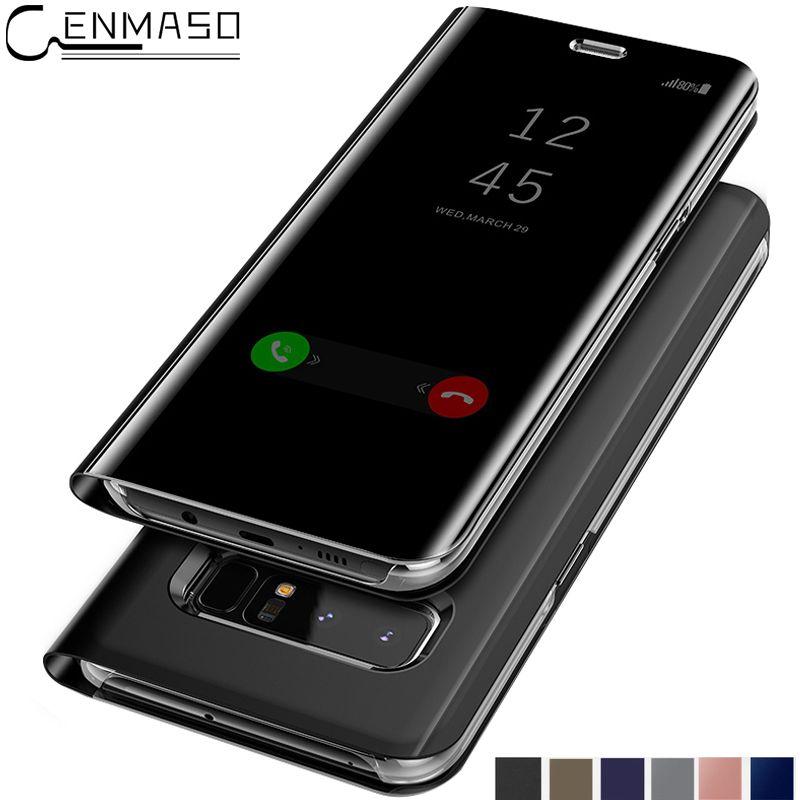 Für SAMSUNG GALAXY S8 Plus S9 Fall Smart Spiegel Clear View für Samsun hinweis 8 5 Note5 S6 S7 Rand S8 S9 Plus Fall Standplatz-abdeckung