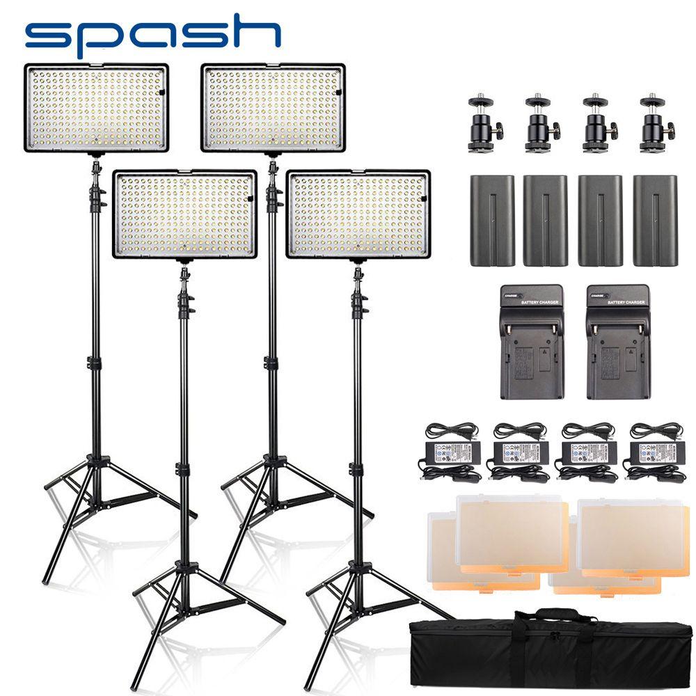 spash LED Video Light 4 Sets Photography Lighting led Panel Lamp with Tripod CRI 93 3200K/5600K 240 LEDs Photo Studio Lamp