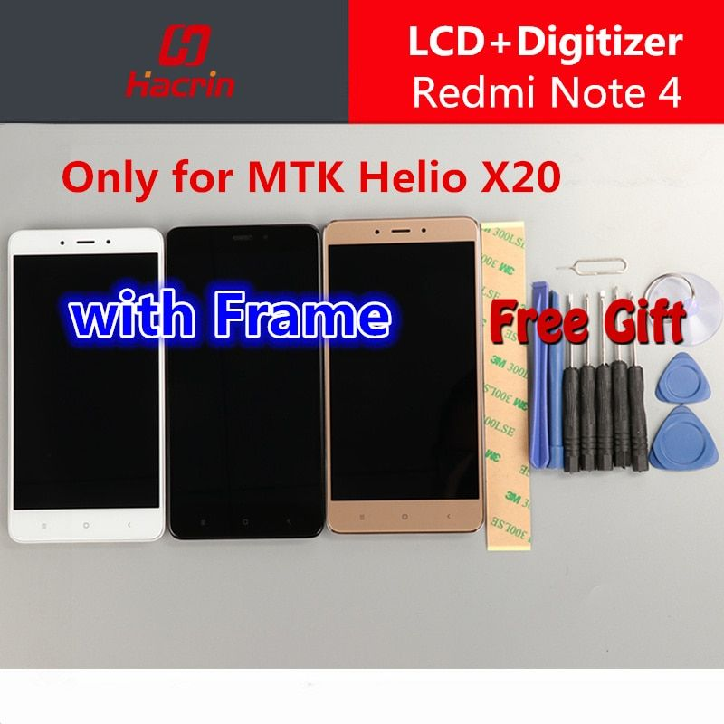 Xiaomi Redmi Note 4 Screen with Frame Redmi Note4 lcd display touch screen assembly replacement for MTK Helio X20
