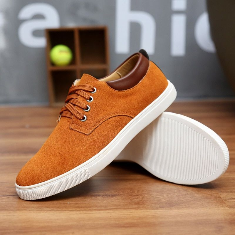 2018 New Fashion Suede Men Flats Shoes Canvas Shoes Male Leather Casual Breathable Shoes Lace-Up Flats Big Size 38-49 Free <font><b>Ship</b></font>
