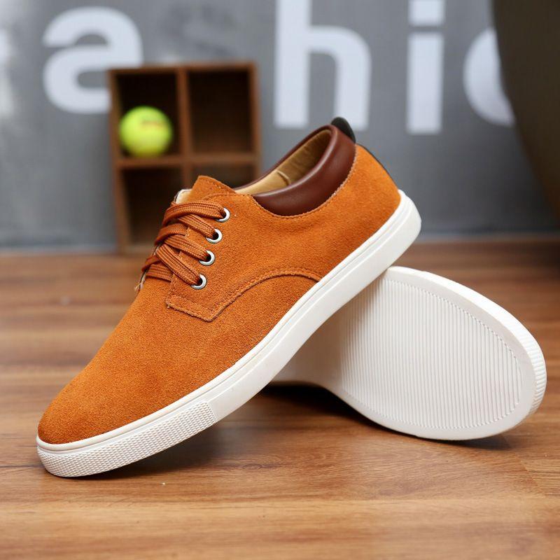 2018 nouveau mode daim hommes chaussures plates toile chaussures mâle en cuir décontracté respirant chaussures à lacets appartements grande taille 38-49 livraison gratuite