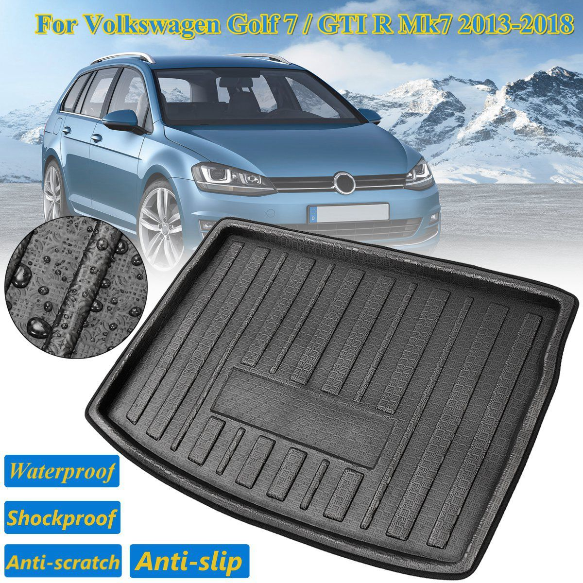 For Volkswagen for VW Golf 7 GTI R Mk7 2013-2018 Car Rear Trunk Liner Boot Cargo Mat Tray Boot Floor Carpet Hatchback Hatch