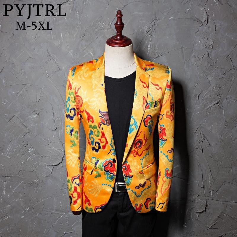 PYJTRL Marke Flut Herren Goldenen Chinesischen Stil Drachen Muster Digital Print Anzug Jacke Hochzeit Party Nachtclub Bühne Blazer