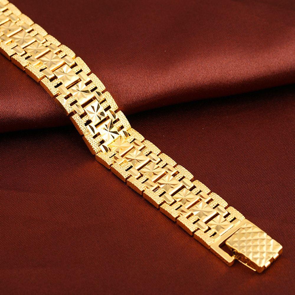 Bracelet pour hommes or rempli Chunky chaîne Bracelets poignet lien épais bijoux homme cadeau sculpté étoile accessoires gratuit