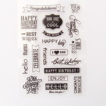 Vintage Happy Birthday Sentiment transparent silicone clear stamp for scrapbooking DIY craft decoration stamp kids stationery