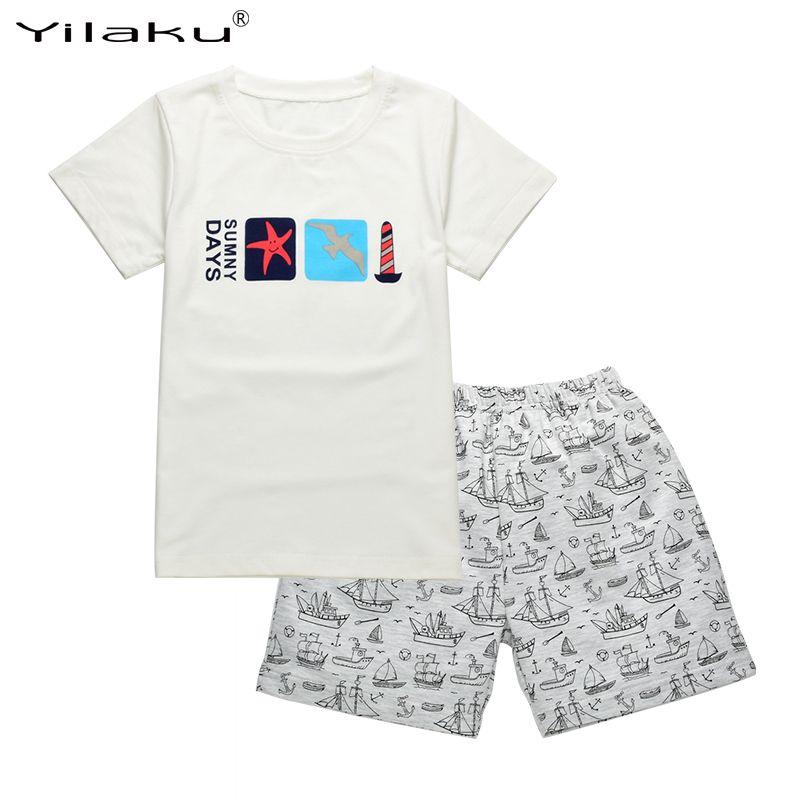 Yilaku Детская одежда Наборы для ухода за кожей Обувь для мальчиков летняя одежда с героями мультфильмов комплект одежды для детей короткий ру...